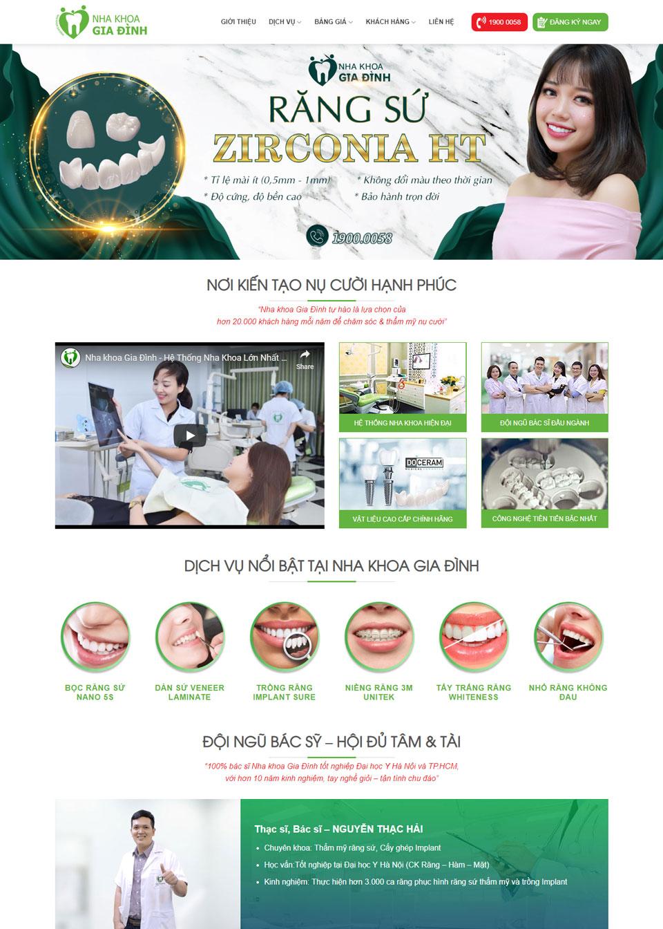 Thiết kế website hệ thống Nha khoa Gia Đình (website: nhakhoafamily.vn)