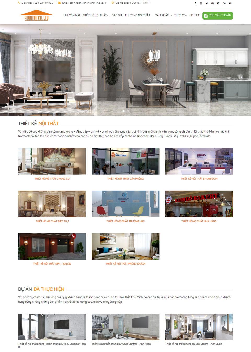 Thiết kế website nội thất cho nội thất phú minh